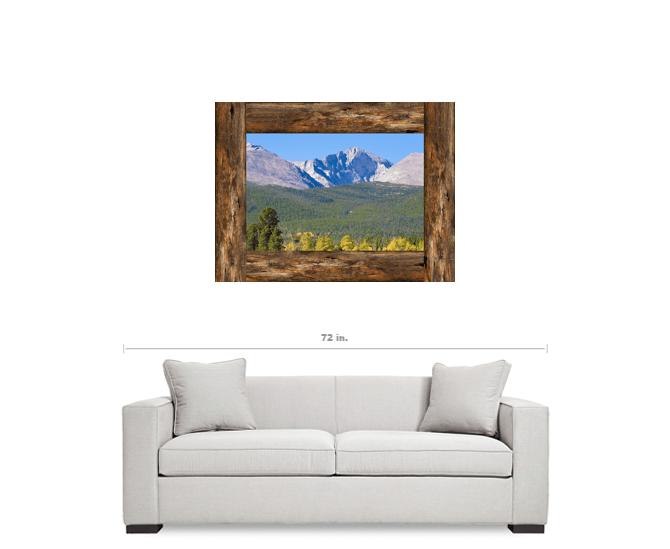 "Colorado Longs Peak Rustic Wood Window View Art 30""x40""x1.25"" Canvas Gallery Wrap"