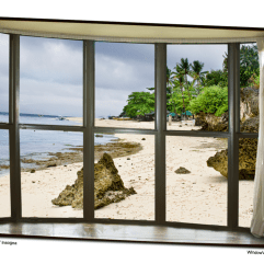 Beach Bay Window View 32″x48″x1.25″ Canvas Gallery Wrap