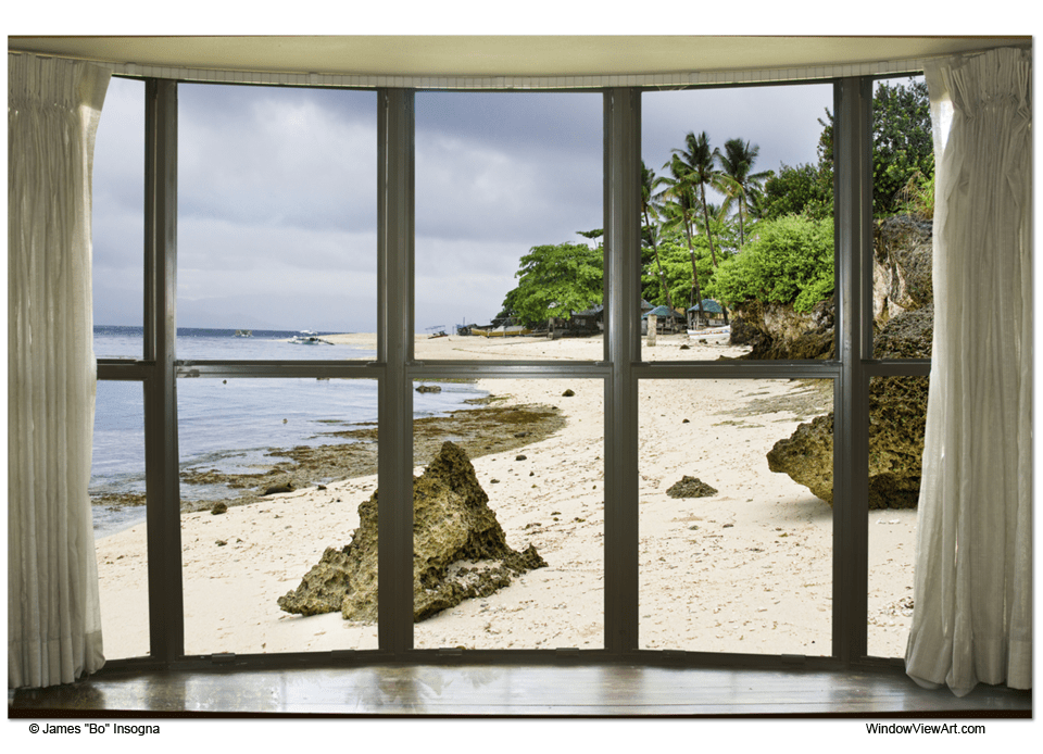 "Beach Bay Window View 32""x48""x1.25"" Canvas Gallery Wrap"