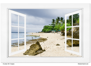 """Ocean Front Beach Open White Picture Window Frame View 32""""x48""""x1.25"""" Canvas Gallery Wrap"""