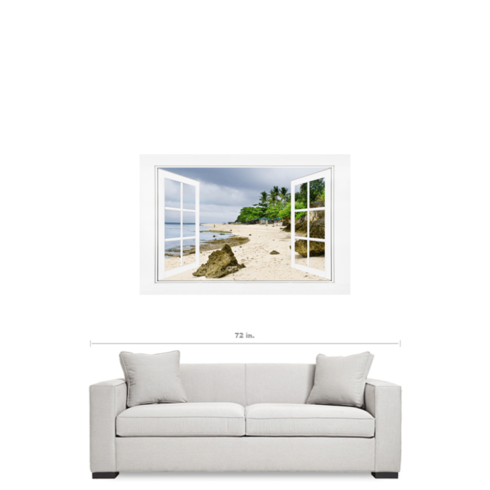 "Ocean Front Beach Open White Picture Window Frame View 32""x48""x1.25"" Canvas Gallery Wrap"