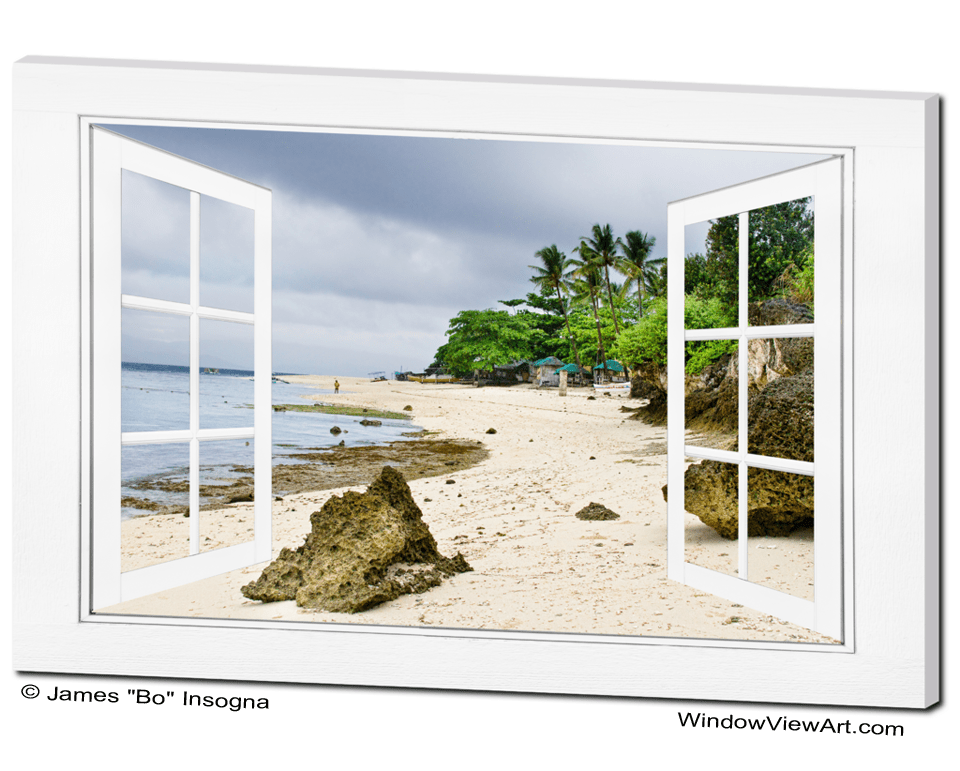 Ocean Front Beach Open White Picture Window Frame Canvas Art View