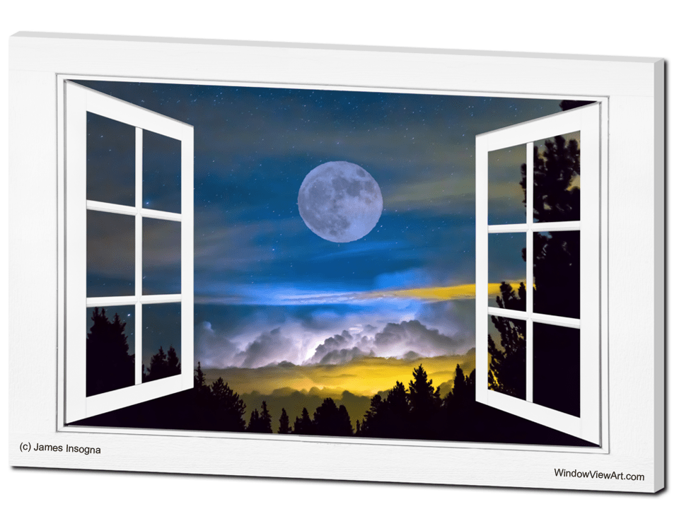 Magical Moon Night Layers Open White Picture Window Frame Art View
