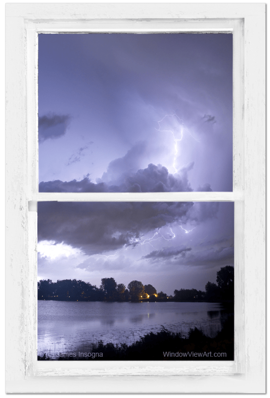 Lake Storm Rustic Whitewashed Window View 24x36 Premium Canvas Gallery Wrap