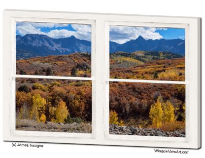 Colorful Autumn San Juan Mountains Whitewashed Window View 32x48x1.25 Canvas Gallery Wrap