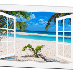 White Sand Beach Ocean Side Open Picture Window Frame Art View 32×48 Premium Canvas Gallery Wrap