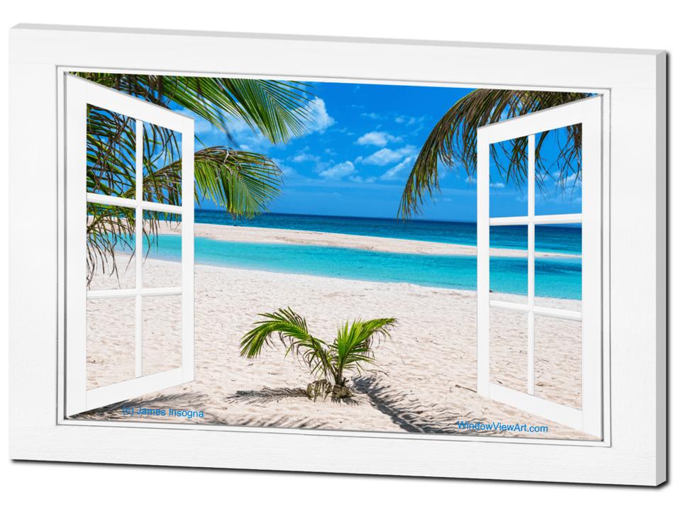 White Sand Beach Window Art