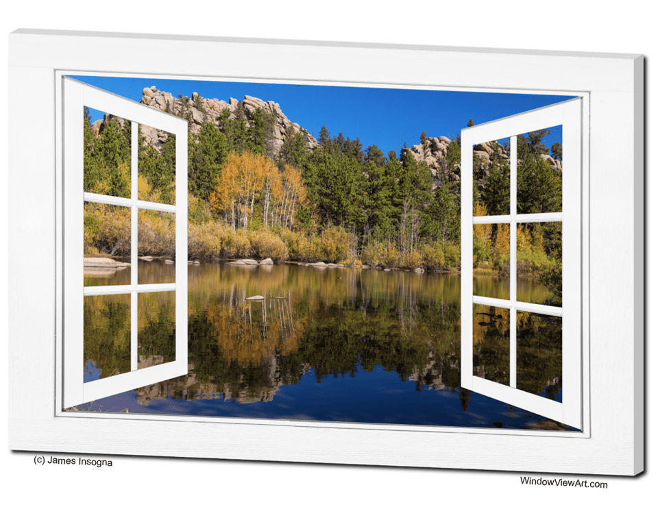 Calm Colourful Lake Landscape Autumn Red Trees Large Poster Canvas Pictures