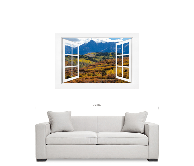 Colorful Rocky Mountains Open White Picture Window Frame Art View 32x48x1.25 Premium Canvas Gallery Wrap