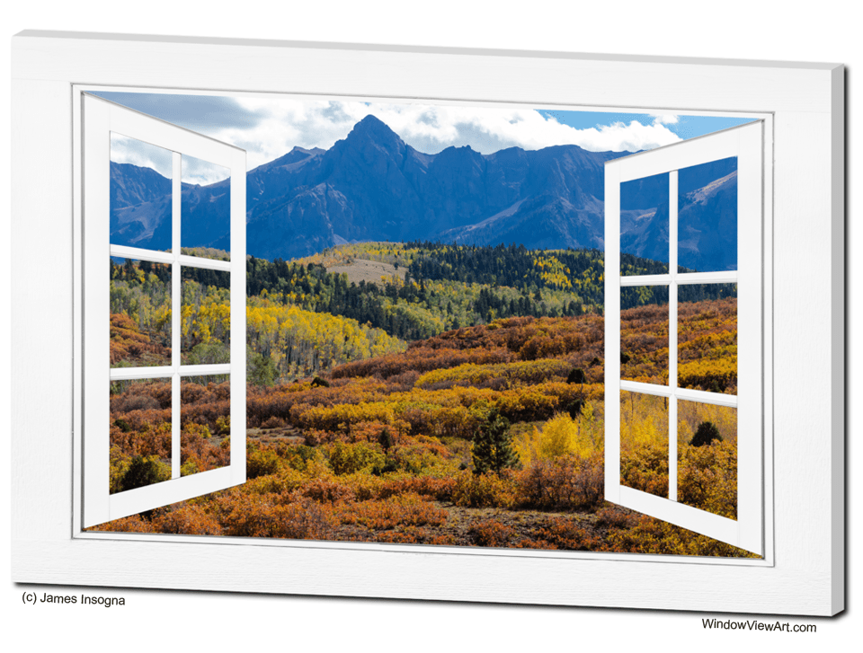 Colorful Rocky Mountains Open White Picture Window Frame Art View