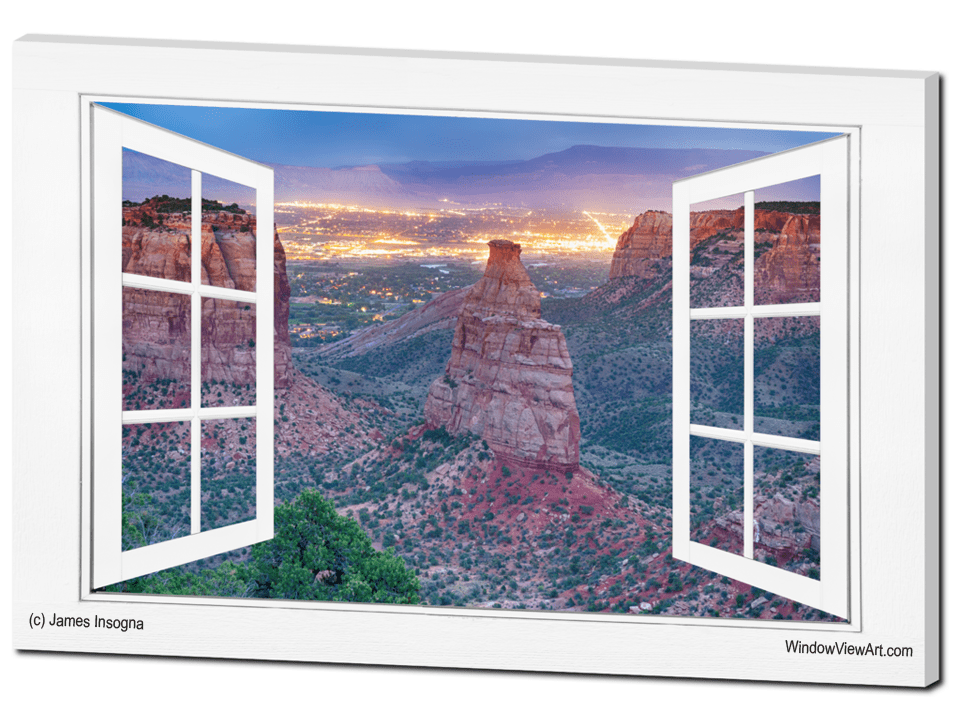 Colorado National Monument And City Lights Open White Picture Window