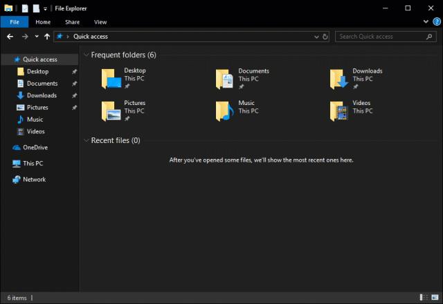 Modo oscuro en windows 10 explorador