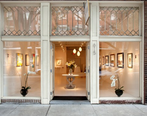 View of an elegant art gallery entrance on Julia Street in the Warehouse District