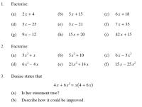 ALGEBRAIC EXPRESSIONS TWO - Algebra