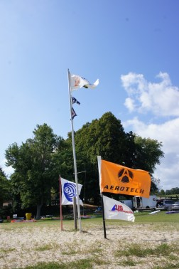 Flying flags from some of our sponsors.