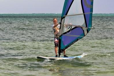 Sup Surfing wilth Sail Le Morne Mauritius