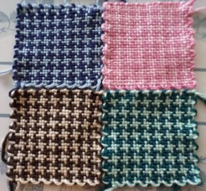 Four different color combinations of the houndstooth check pattern.