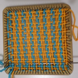 Weaving Layer 2, Rows 1 and 2, Color 1