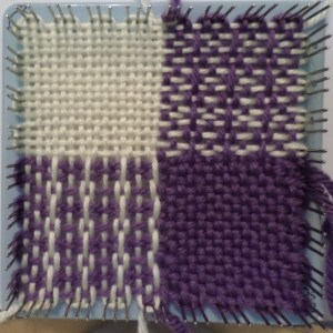 Finished square still on loom.