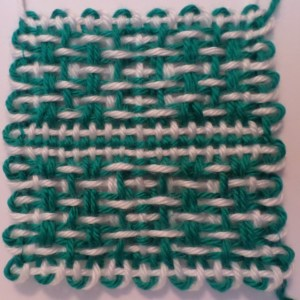 Finished square off the loom (reverse).