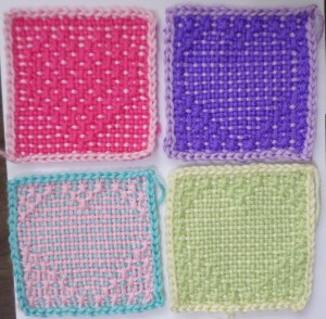 Three variations of 4-inch woven hearts.