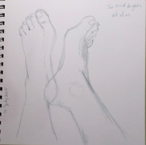 I was tired that night, but pursued my challenge. I drew my right foot, then decided I could fit the left foot on the page too. 14 July 2015