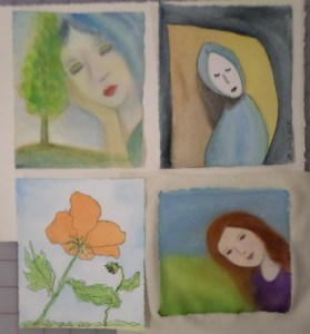 The upper right and lower left pictures came from sketches made years ago. I redrew them and painted them. The lower right was painted on muslin--interesting experience. The upper left is my favorite: tree, girl--what's not to love? I worked on them throughout the day, and like them all. 25 July 2015