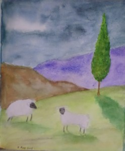 "From Facebook: ""Today's other daily sketch. We had a cloudburst, so I felt the need to paint a cloudburst/sheep picture."" 2 August 2015 It's painted on Rising Stonehenge paper; an interesting paper to paint on."
