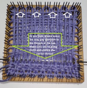 When plain weaving R4 make sure to get the threads in the correct order. It helps to refer to the warping pattern at the top of the loom in order to get the threads in alignment.