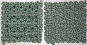 """Horizontal Xs (Modified)"" without and with beads"
