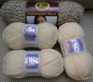 I Love This Wool (100% wool) shown here with Fisherman's Wool by Lion