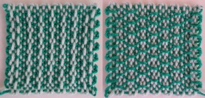 "Another example of ""Bordered Alternating Beads."" I realize I use green a lot for my samples. I like green, but it also photographs well."