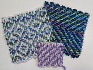 Three samples of two-layer warp patterns.