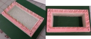 "Here it is shown on a 4"" x 2"" loom before and after the center hole was removed."