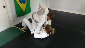 Grappling with a brown belt