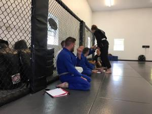 Receiving my first stripe in BJJ