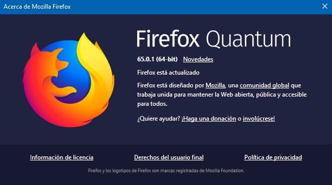 Firefox Quantum 65.0.1