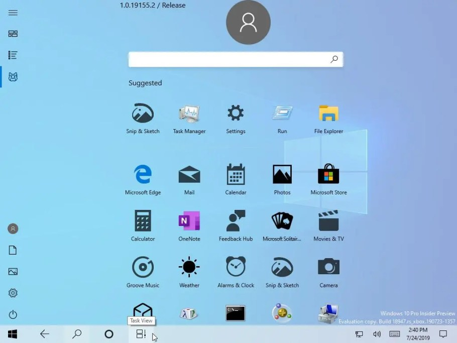 menu inicio windows 10