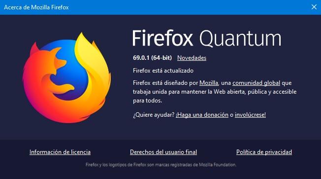 Firefox Quantum 69.0.1
