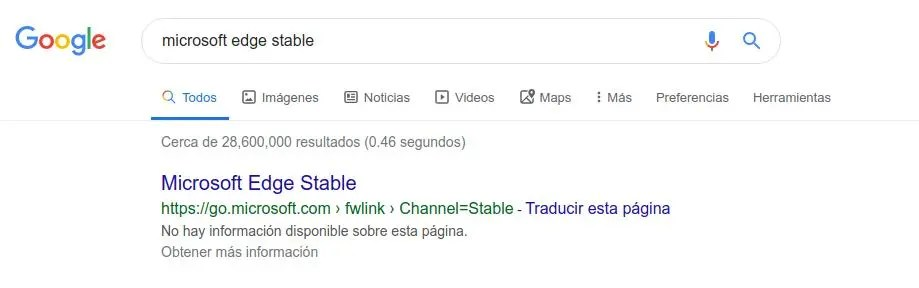 Microsoft Edge Stable google