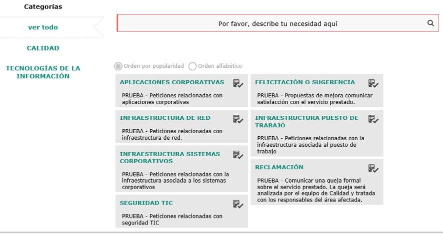 formulario servicio itsm