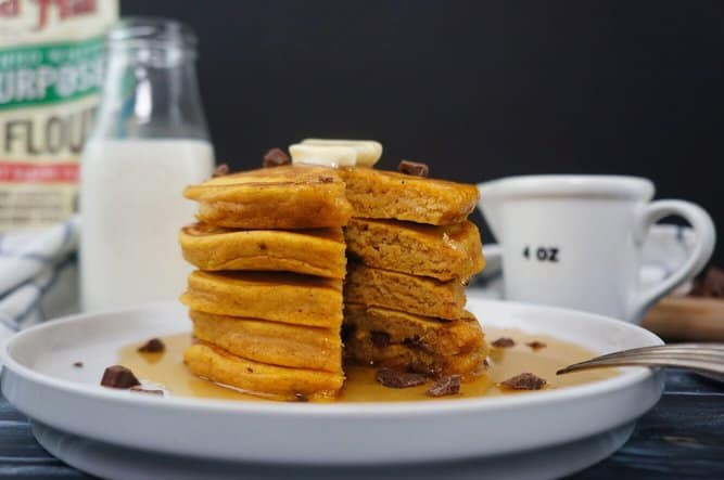 Pumpkin Spice and Chocolate Chip Pancakes