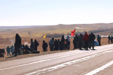 peaceful Water Protectors (Native Americans) portesting on the pipe lines ( highway 6)