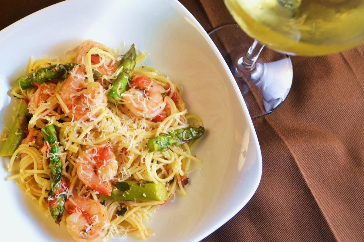 angel hair pasta with shrimp asparagus