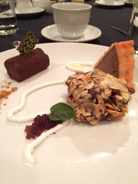 A Study of Chocolate: Nut crested Ganache; Raspberry & Rhubarb Torte; Semifreddo with Pattern Sponge