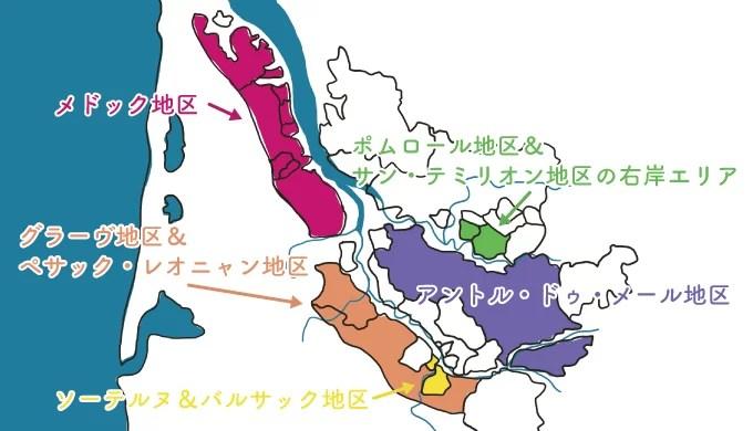 ボルドー地方の各地区の図解