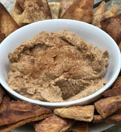 Homemade Snickerdoodle Dessert Hummus is vegan and gluten free-served with fresh fruit, pretzels or pita chips for an easy and healthy snack or appetizer