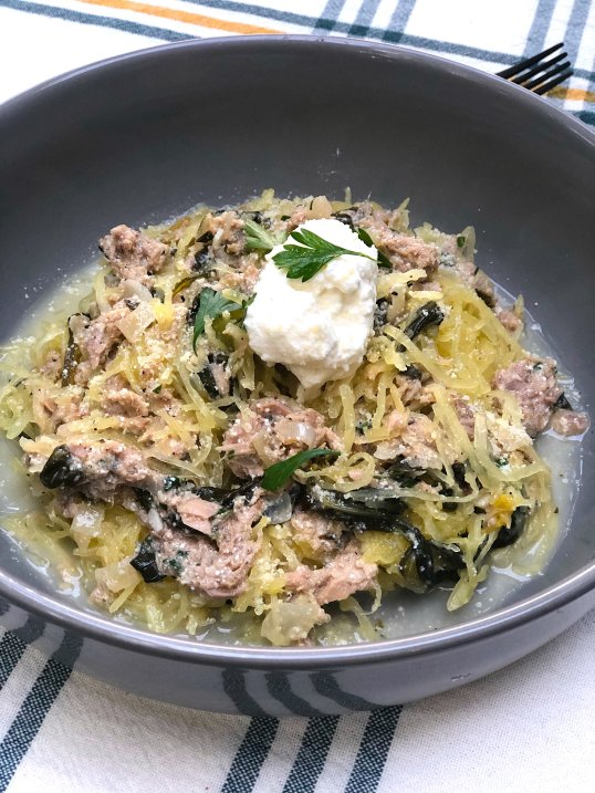 Quick & Easy Keto Spinach & Tuna in White Wine Lemon Sauce over Spaghetti Squash Noodles