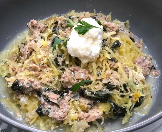 Quick & Easy Keto Spinach & Tuna in White Wine Lemon Sauce over Spaghetti Squash Noodles