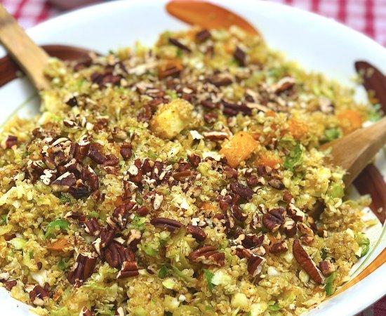 Warm Fall Quinoa Salad with Roasted Butternut Squash & Maple Dijon Dressing